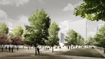 Wolkenkratzer und viel Freifläche: Das jetzige Industrieareal soll sich in hochwertigen Wohn- und Gewerberaum verwandeln. Visualisierung/ZVG