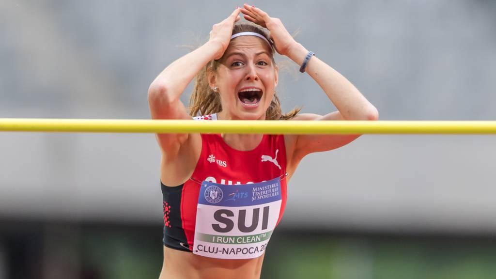 Hochspringerin Salome Lang freut sich über die geschaffte Olympia-Limite