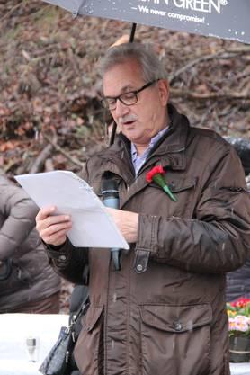 Gemeindepräsident René Rey bei seiner Einbürgerungsrede