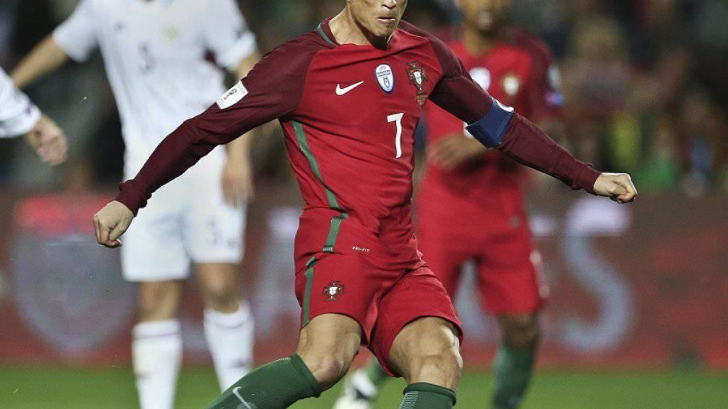 Cristiano Ronaldo und sein Portugal gewannen gegen Lettland 4:1