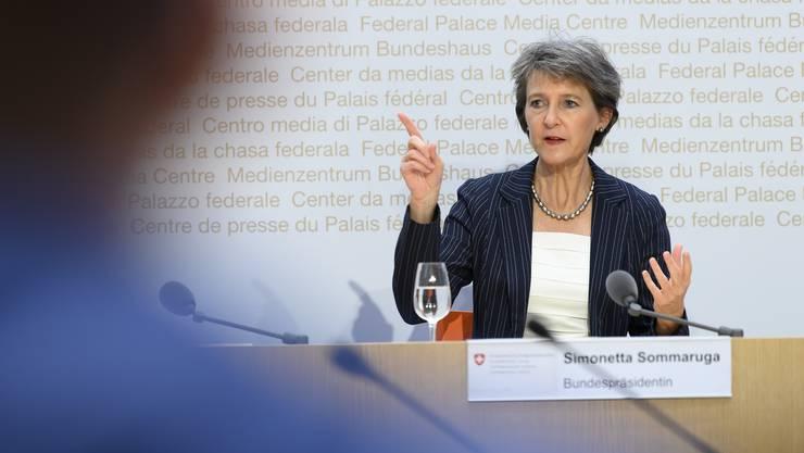 Bundespräsidentin Simonetta Sommaruga sprach am Montag an der Universität Basel. (Symbolbild)