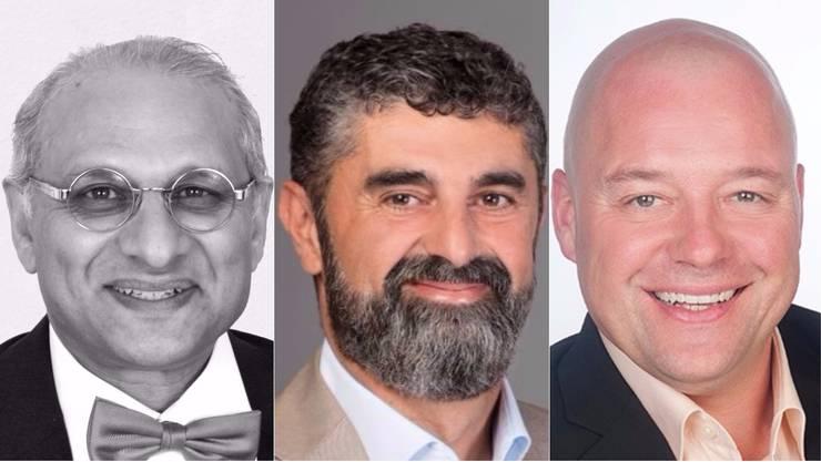Wurden nicht wiedergewählt: v.l. Yahya Hassan Bajwa (team), Antonio Ventre (CVP), Christoph Perrin (SVP)