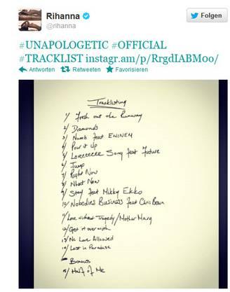 Rihanna veröffentlicht auf Twitter die Trackliste ihres neuen Albums «Unapologetic»