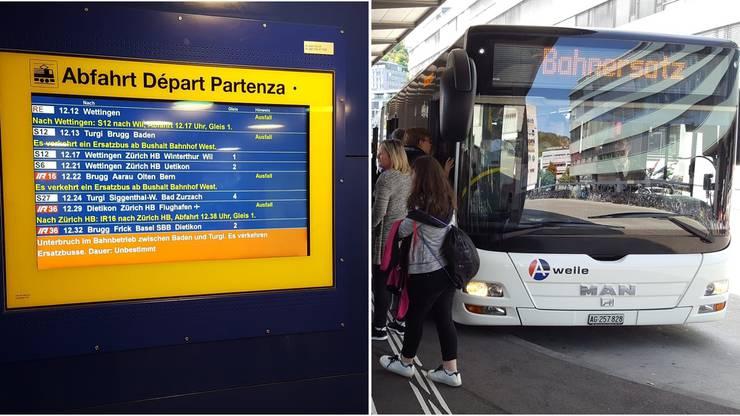 Zahlreiche Bahnverbindungen fallen aus - zwischen Baden und Turgi verkehren Ersatzbusse.