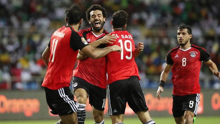 Mohamed Salah (Mitte) steht mit Ägypten am Afrika-Cup im Final