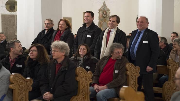 Die Brugger Stadträte beim Appell (von links): Willi Däpp (neu), Vizeammann Andrea Metzler, Reto Wettstein (neu), Leo Geissmann (neu) und Stadtammann Daniel Moser.Alex Spichale