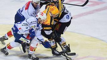 Kampf um den Puck in der Partie Lugano gegen den ZSC