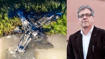 Philipp Umbrich und das Flugzeugwrack.