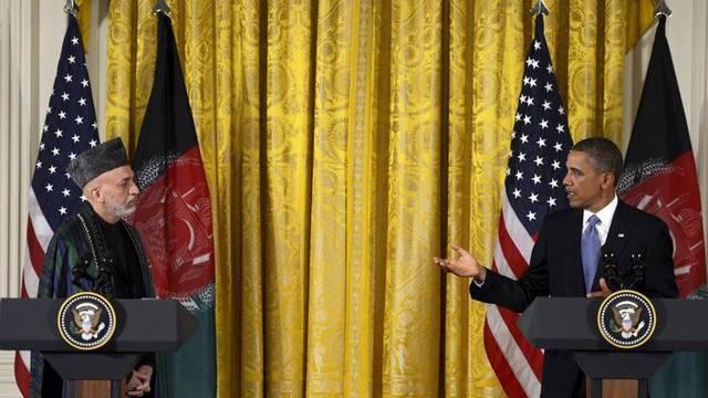 US-Präsident Obama und der afghanische Präsident Karsai nach dem Gespräch in Washington