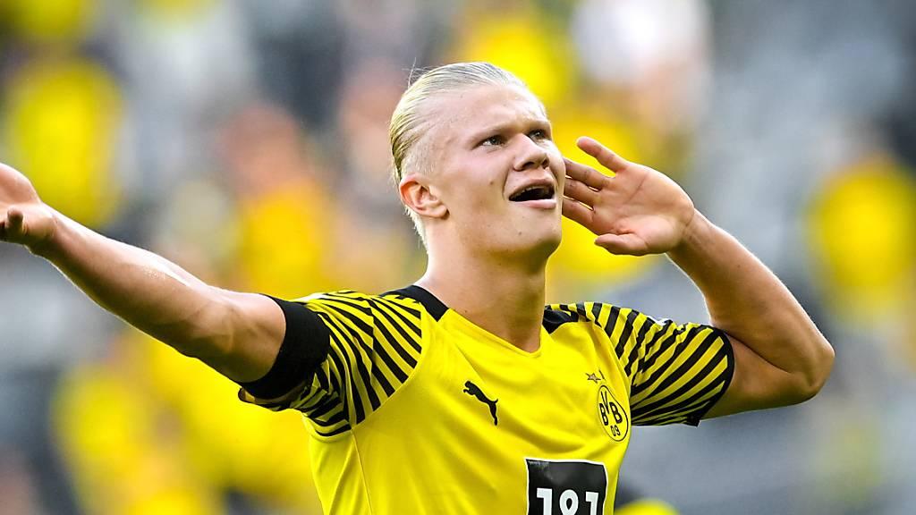 Dortmunds Matchwinner Erling Haaland ist in Tor- und Feierlaune.