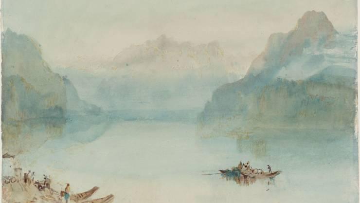 Der englische Landschaftsmaler des 19. Jahrhunderts und Meister des Lichts für einmal lieblich: Auch so hat William Turner den Vierwaldstättersee mit der Rigi im Hintergrund gesehen.