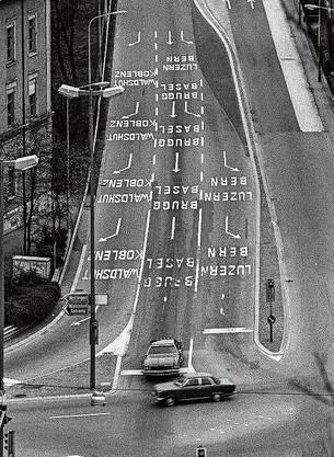 Eine verwirrende Kreuzung in Baden.