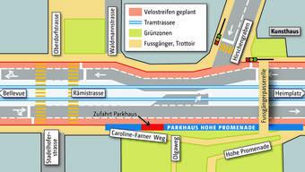 So stellt sich der VCS die Lösung vor: Links und rechts der Rämistrasse verlaufen zwei Velostreifen (rot). Die Fussgängerwege sind gelb eingezeichnet, Tram (blaue Linien) und Autos würden sich kreuzen.