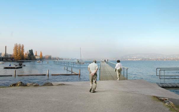 Impressionen des geplanten Cassiopeiasteges. Er soll vom Hafen Wollishofen ausgehen.