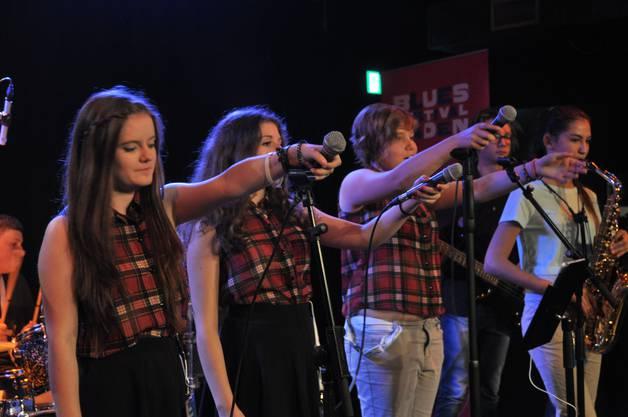 Die acht Bandmitglieder fordern das Publikum zum mitmachen und mitsingen auf