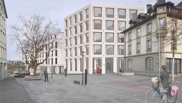 Die Visualisierung zeigt den Verwaltungsneubau von der Schulthess-Allee aus sowie den Eingangsplatz mit der «Alten Post» im Vordergrund. ZVG/HORNBERGER ARCHITEKTEN AG