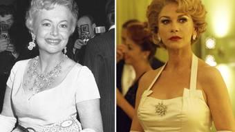 """Olivia de Havilland (l) und Catherine Zeta-Jones, welche sie in der FX-Serie """"Feud: Betty and Joan"""" darstellt. De Havilland blitzte vor einem kalifornischen Berufungsgericht ab mit der Klage, in der Serie verleumdet worden zu sein."""
