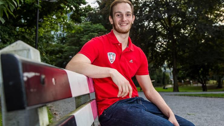 Tim Aufdenblatten, mit erst 20 Jahren schon Topskorer des HSC Suhr Aarau in der Nationalliga A.