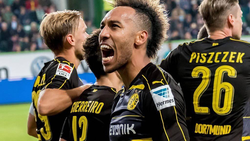 Pierre-Emerick Aubameyang schoss beim 5:1-Sieg von Dortmund in Wolfsburg seine Saisontore 3 und 4
