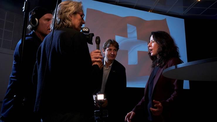 SP-Regierungskandidatin Tanja Soland bei den Interviews.