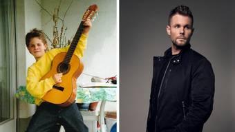 Rockerpose mit akustischer Gitarre: Emanuel Gut im Alter von sieben Jahren und heute.
