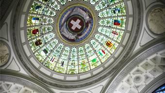 Kantonswappen im Bundeshaus: Bei nationalen Abstimmungen reden die Kantone gerne mit.
