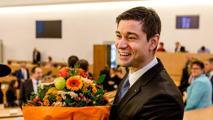 Erste Grossratssitzung 2017: Benjamin Giezendanner wird zum neuen Grossratspräsidenten gewählt.