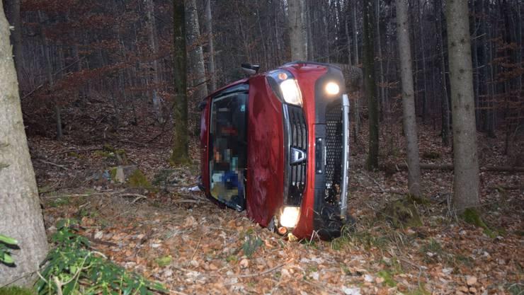 Auto überschlägt sich und kommt im Wald zum Stillstand.
