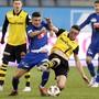 Die Young Boys um Silvan Hefti mussten gegen die Luzerner mit Filip Ugrinic trotz 3:0-Führung bis zum Schluss kämpfen