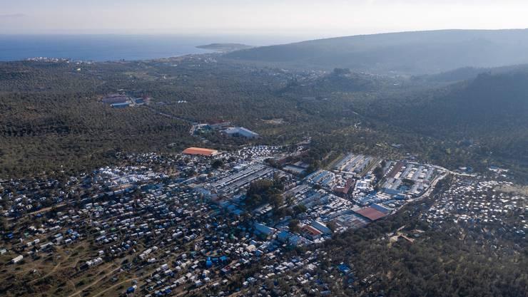 Das Flüchtlingslager Moria auf der Insel Lesbos.