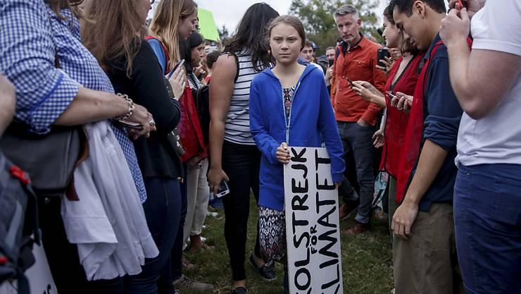 Auch in Washington hat Klimaaktivistin Greta Thunberg ihr eigenes Protestschild dabei.