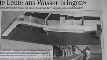 Im Sommer 1998 stand das Aaresteg-Projekt von der Landhaus-Ufertreppe bis zur Einmündung des Meistergässleins zur Debatte. Dort hätte ein Holzkubus als Restaurant/Kiosk platziert werden sollen. Archiv
