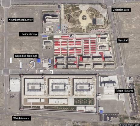 Dieses Satellitenfoto enthüllt den Blick auf eines von zahlreichen Internierungscamps in der Xinjiang-Region.