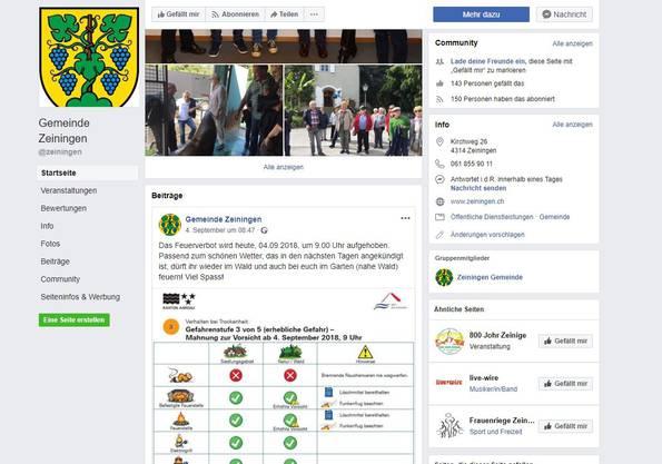 2: Zeiningen ist sogar doppelt auf Facebook vertreten.
