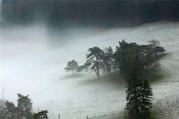 Nebelschwaden ziehen in Richtung Allerheiligenberg bei Hägendorf.