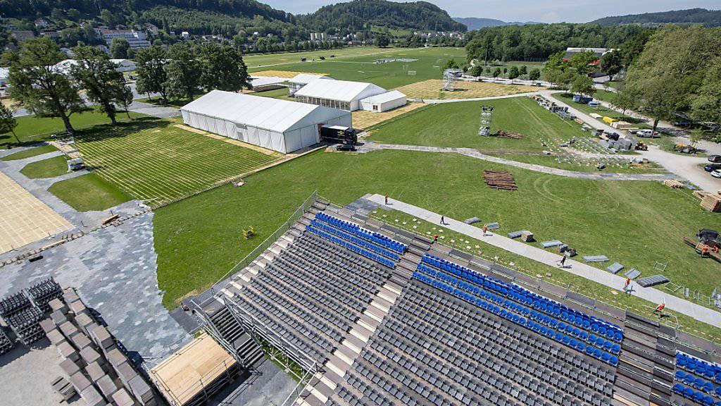 In Aarau laufen die Vorbereitungen für das Eidgenössische Turnfest (ETF) auf Hochtouren. Der Grossanlass mit dem Festgelände im Schachen dauert vom 13. Juni bis 23. Juni.