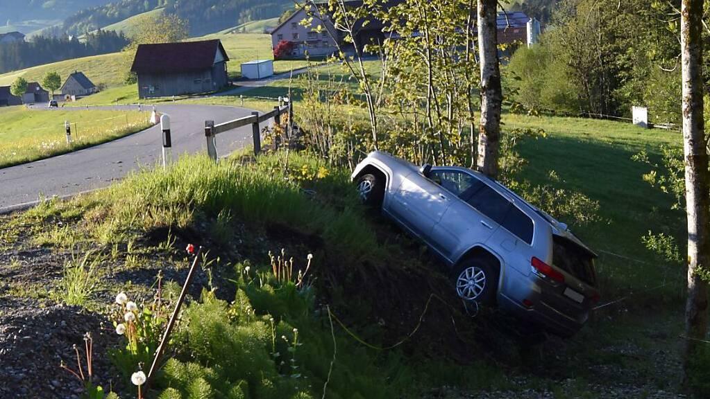 Ein 25-jähriger Autofahrer hat seinen Geländewagen am Freitagmorgen nach einem Selbstunfall in Schwellbrunn AR zurückgelassen. Die Polizei kam ihm aber auf die Spur.