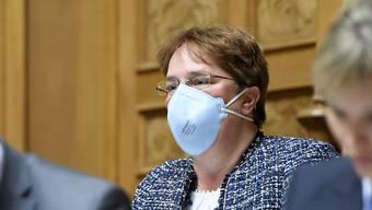 SVP-Nationalrätin Magdalena Martullo-Blocher - im Bild mit Schutzmaske im Parlament im März.