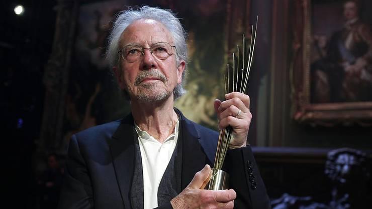 Peter Handke an der Verleihung des Nestroy-Theaterpreises Nestroy in Wien.