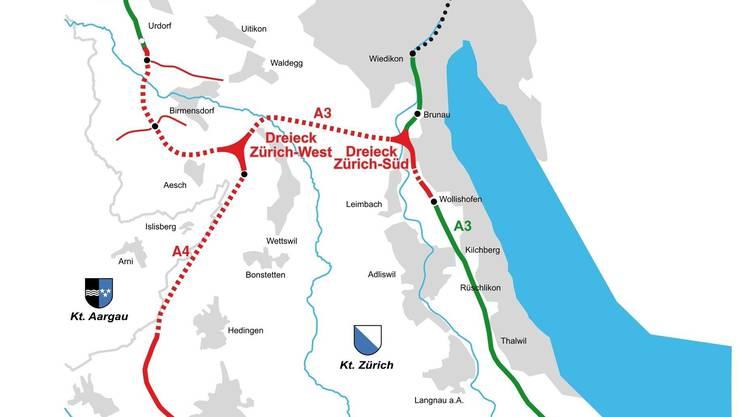 A4: Der neue Autobahnabschnitt reicht vom Dreieck Zürich West bis Knonau und ergänzt die Westumfahrung.
