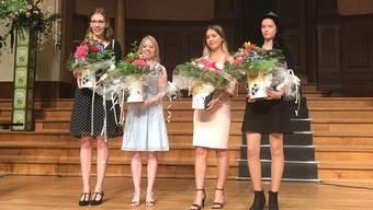 Die Ausgezeichneten im Bereich Detailhandel (v.l.): Anna Seiler und Melissa Wyss (beide 2. Rang); Madalena Ferraira De Sousa Noivo und Robyne Loosli (beide 1. Rang).