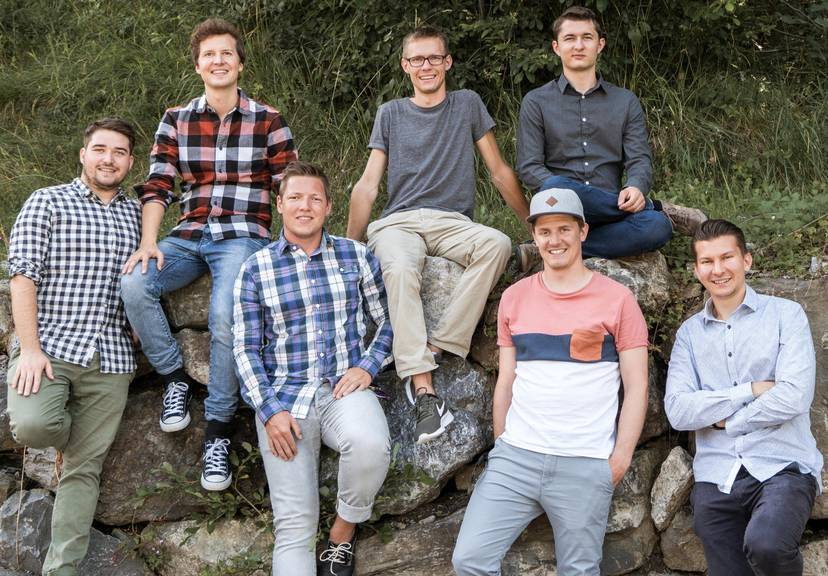 Von links: Tobias Grimm, Stefan Pfister, Jonas Harlacher, Mirko Schindler, Daniel Schürch, Jan Dino und Simon Reinker. (Bild: zVg)