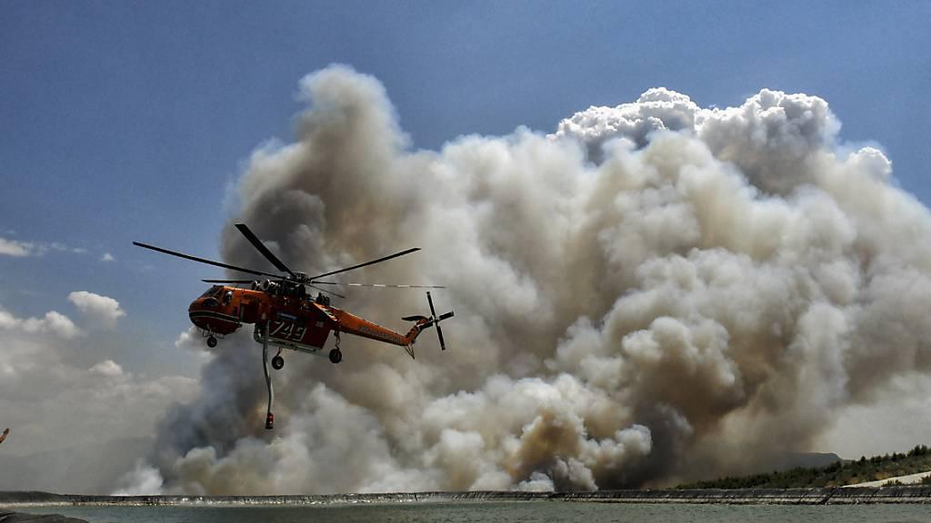 Ein Löschhubschrauber fliegt während eines Waldbrandes über einen Wasserspeichertank. Foto: Valerie Gache/AP/dpa