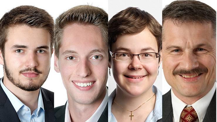 Der jungfreisinnige Timon Lanz ist der liberalste Kandidat, gefolgt von Parteikollege Luca Fluri (v.l.). Am anderen Ende der Liberalismus-Skala stehen Elisabeth von Arx (JCVP) und der Kandidat, der am wenigsten liberal ist: Adrian Roth (EDU).