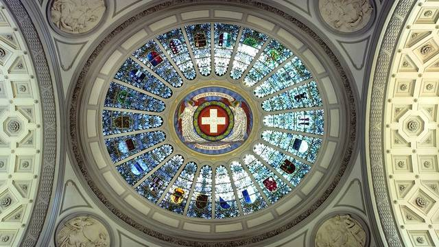 Kantonswappen in der Kuppelhalle des Bundeshauses (Archiv)