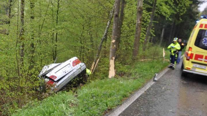 Das Auto fuhr eine Böschung hinab.