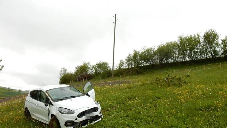 Der Fahrer verlor die Kontrolle über sein Auto, das eine Böschung hinunterrollte und sich überschlug.
