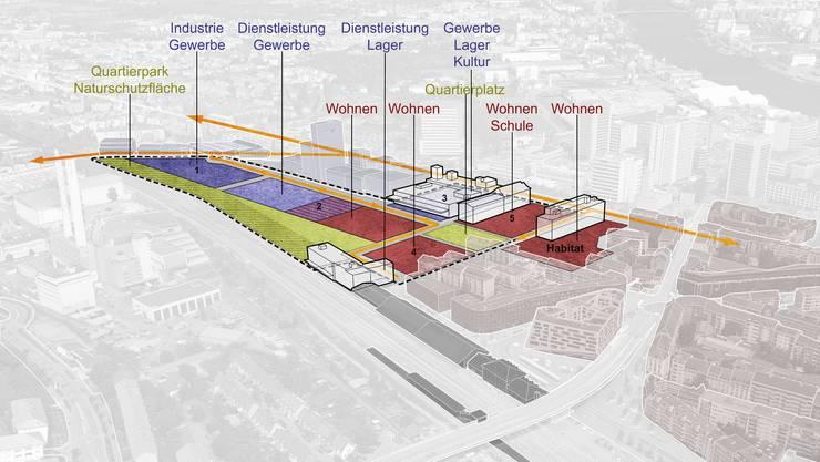 Neben den Genossenschaftswohnungen sind auf dem Arealteil des Kantons bereits ein neues Primarschulhaus und ein ausgedehntes Kultur- und Gewerbezentrum geplant.