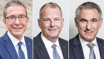 Regierungsräte bald auf dem Absprung? Urs Hofmann, Alex Hürzeler und Stephan Attiger (von links).