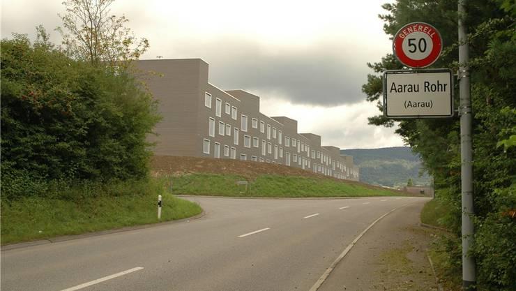 Von Buchs her kommend: Überraschend futuristisch mit dem neu gebauten Trieschäcker-Quartier im Stadtteil Rohr